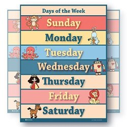 Learning Days Of The Week Laminated Educational Extra Large Poster Chart For Toddlers Preschool Edu 24X30