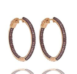 Sterling Silver 925 Rose Gold Plated Finish Chocolate Color Cz Hoop Earrings 31MM