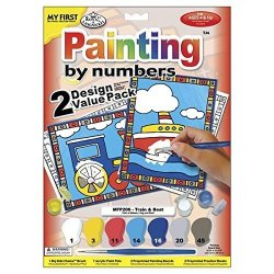 Royal Brush My First Paint By Number Kit 8.75 By 11.375-INCH Train And Boat 2 PKG