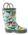 Oakiwear Oaki Kids Rubber Rain Boots With Easy-on Handles Earthy Dino 13T Us Toddler