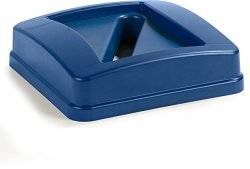 """Carlisle Corporation Carlisle 343526REC14 Centurian Paper Recycle Lid 15.13"""" Length X 15.13"""" Width X 6"""" Height Blue For 23 Gallon Tall Square Centurian Recycle Container"""