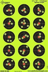 Splatterburst Targets - 12 X 18 Inch - 3 Inch Bullseye Shooting Target - Shots Burst Bright Fluorescent Yellow Upon Impact - Gun