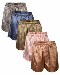 UP2DATE Fashion Men's Satin Boxers Shorts Combo Pack 5-PACK Medium