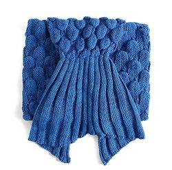 """LAGHCAT Mermaid Tail Blanket With Scale Knit Crochet Mermaid Blanket For Adult Sleeping Blanket 71""""X35.5"""" Blue"""