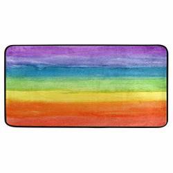 Kitchen Rugs Colorful Stripe Rainbow Design Non-slip Soft Mats Bath Rug Runner Doormats Carpet For Home Decor 39 X 20