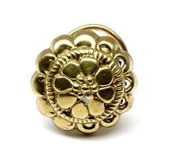 Karizma Jewels Indian Nose Stud Antique Gold Finish Nose Ring