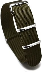 Nato Skull 20MM Nato Watch Band Strap With Stainless Steel Buckles In Military Green