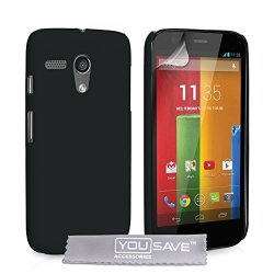 Yousave Hybrid Hard Cover For Motorola Moto G Black MO-ROLA-Z207