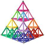 Elongdi Magnetic Building Blocks 132 Pieces Lengthen Building Sticks Set Magnet Stem Toys Set Non-toxic Building 3D Puzzle Boys