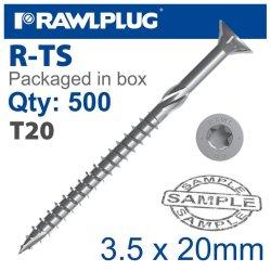 RawlPlug Torx T20 Chipboard Screw 3.5X20MM X500-BOX