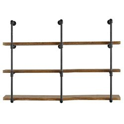 Yuanshikj 3PC 42 Tall 12 Deep 3 4 Industrial Wall Mount Iron Pipe Shelf Shelves Shelving Bracket Vintage Retro Black Diy Open Bookshelf Storage Offcie