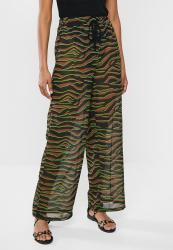 Missguided Zebra Neon Detail Chiffon Trouser - Brown