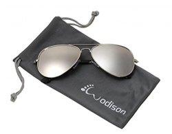 JF Store Wodison Classic Kids Aviator Sunglasses Reflective Metal Frame Children Eyeglass Silver Frame Silver Lens