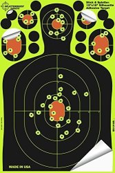 Splatterburst Targets - 12 X18 Inch - Stick & Splatter Adhesive Silhouette Shooting Target - Shots Burst Bright Fluorescent Yellow Upon Impact - Gun