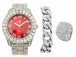 Mens Silver Big Rocks Bezel Bloody-red Dial With Roman Numerals Fully Iced Out Watch W cuban Chain Bracelet & Ring Size 8 - Bloo