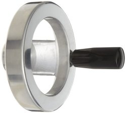 """Monroe Engineering 2 Spoked Polished Aluminum Dished Hand Wheel With Handle 4"""" Diameter 3 8"""" Hole Diameter Pack Of 1"""
