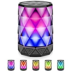 Bluetooth Speakers With Lights Lfs Night Portable Wireless Speaker Multi-color Auto-changing LED Themes Diamond Shape Built-in M