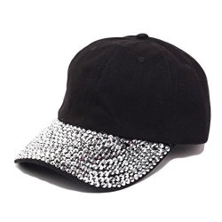 Raylans Women Men Adjustable Rhinestone Studded Bling Tennis Baseball Cap Sun Cap Hat Black