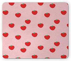 """7.1"""" X 8.7"""" Strawberry Mouse Pad Continuous Cartoon Style Simplistic Summer Time Organic Fruits Rectangle Non-slip Rubber Mousepad Standard Size Rose Dark Pink And Green"""