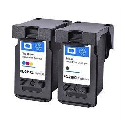 ESTON 2 Pk PG-210XL CL-211XL Black Color Ink Cartridge For Pixma Mg Ip Mx Series Printer