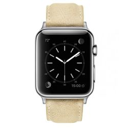 Colton James Leather Strap For Silver 38MM Apple Watch-sandstone