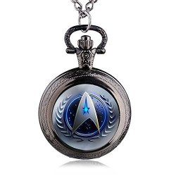 Fenkoo Quartz Pocket Watch Vintage Medium Pocket Watch Movie Star Trek Pocket Watch Quartz Pocket Watch Whole Wall Chart Pocket Watches Color : 1