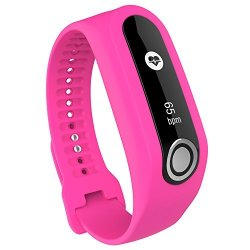 MoreToys Soft Silicone Replacement Accessory Watch Band Wrist Strap Bracelet For Tomtom Touch Cardio Activity Tracker Pink