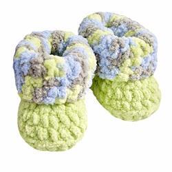 Crochet Soft Baby Booties Green 6-12 Months Handmade