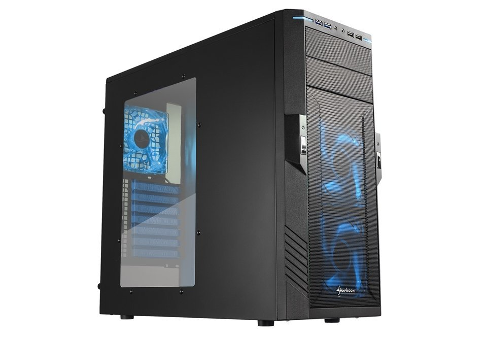 Sharkoon VG5-W Midi Tower PC Gaming Case Blue With Window USB 3.0