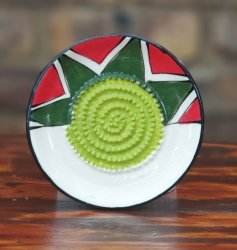 Red And Green African Grater Plate