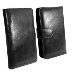 Tuff-Luv Genuine Leather Wallet Case for Apple iPhone X XS in Black
