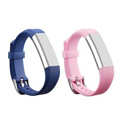 I-SMILE 2PCS Newest Replacement Wristband With Secure Clasps For Fitbit Alta Only No Tracker Replacement Bands Only Navy&nude Pink