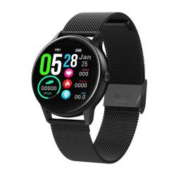 DT88 1.22 Inch Full Circle Full Touch Steel Strap Smart Sport Watch IP68 Waterproof Support Real-time Heart Rate Monitoring Sleep Monitoring Bluetooth Alarm Clock Black