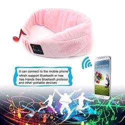 Changsha Hangang Technology Ltd Hangang Eye Mask For Sleeping Sleep Mask Eye Mask Sleep Headphones Velvet Music Eye Mask Wireless Bluetooth Headsets For Sleeping relaxation air Travel meditation insomnia Pink