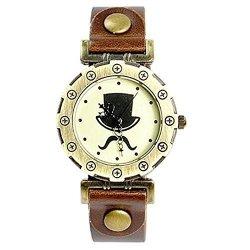 Nicedeco - Magician Logo Nice Quartz Leather Wrist Watch Brown