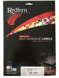Redfern 45UP 39.2MM X 29.88MM A4 Self Adhesive Labels - 25 Sheets