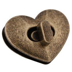 Walfront 5SETS Heart-shaped Metal Clasp Turn Lock Twist Lock Hardwarehandbag Bag Accessory Bronze