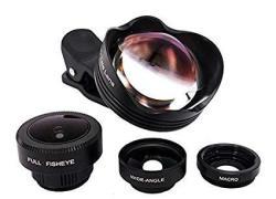 Ultra HD Iphone Lens 180 Fisheye + 0.63X Wide Angle Lens + 15X Macro + 3X Telephoto 4 In 1 Optic Cell Phone Lens