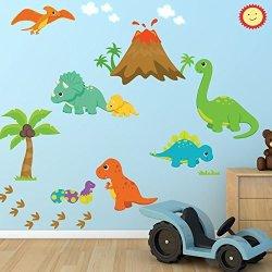 Decal The Walls Dinosaur Fabric Wall Decal 100% Woven Fabric Decal Ul Greenguard Certified Nursery Kids Room Decor Great Gift