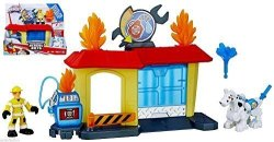 Rescue Bots Playskool Heroes Transformers Griffin Rock Garage With Kade Burns And Fireplug The Dalmation
