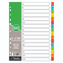 Treeline A To Z Printed 16 Tab Deep Tint Assorted - A4