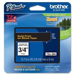Brother Tz Lettering Label Tape - 0.75QUOT Width - 1 Each - Gold