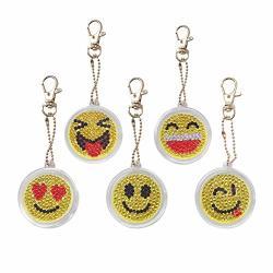Diy Diamond Painting Keychains Special Shaped Cartoon Emotion Diamond Painting Ornaments Pendants Small Diamond Art For Kids And Adult Beginners 5PCS SET