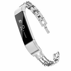 Wearlizer Compatible Metal Fitbit Alta Bands For Women Small Fitbit Alta Hr Women Metal Replacement Bands Accessories Straps Bracelet Bangle Wrist Bands Small Large Silver