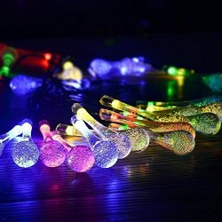 Outdoor Fairy Lighting Solar outdoor fairy lights prihome fairy lights waterproof 20 bulbs solar outdoor fairy lights prihome fairy lights waterproof 20 bulbs 48 m string lights solar powered raindrop garden string fai workwithnaturefo