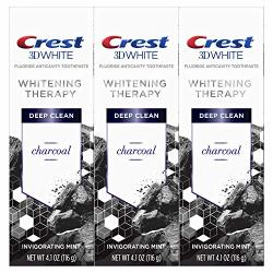 Crest 3D White Whitening Therapy Charcoal Deep Clean Fluoride Toothpaste Invigorating Mint 3 Count