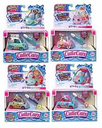 Moose Toys Shopkins Cutie Cars Series 3 Color Change Set Of 4 Styles May Vary. Including Blizy Keychain.