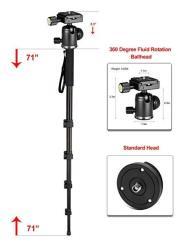 "Professional Heavy Duty 72"" Monopod unipod Dual Optional Head For Fujifilm Finepix HS50EXR"