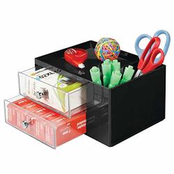 PLASTIC Mdesign Home Office Storage Caddy Box For Desk Countertop Cubicle - 2 Drawers 2 Side Compartments Top Shelf - Organizer Holds Pens Erasers
