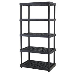 Keter Resin 5-TIER Freestanding Multipurpose Shelf Display Rack For Basement Kitchen And Garage Storage Shelving And Organization 24 Black